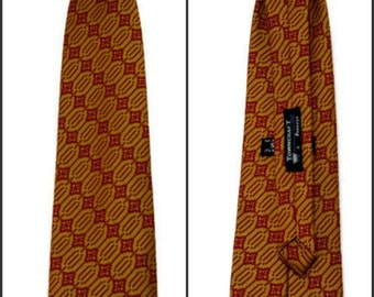 Snapper Necktie Red and Yellow Clip On Towncraft JC Penneys Chevron Atomic Diamonds