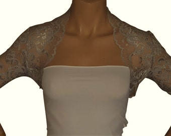 Pale Grey Stretch Bolero with 3/4 sleeves in sizes 10 to 20 UK sizes