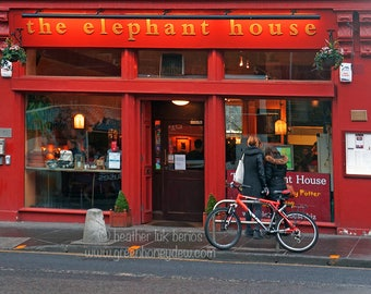 Edinburgh Elephant House Photography - Wall Decor - Fine Art Photography Print - Harry Potter JK Rowling Coffee Shop Red Author