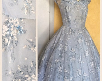 1950s Wedding Dress Periwinkle Blue Dress/ 50s Ballgown Wedding Prom Cocktail Dress/  inspired White Flowers 50s Dress