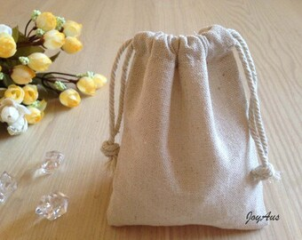 12x Natural Linen Pouch Favour Bags with Drawstring - Wedding Party Favour Bag - Baby Shower Chrismas Gift Bag