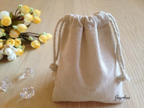 10x Natural Linen Pouch Bags with Drawstring - Wedding Party Favour Bag - Chrismas Gift Bag