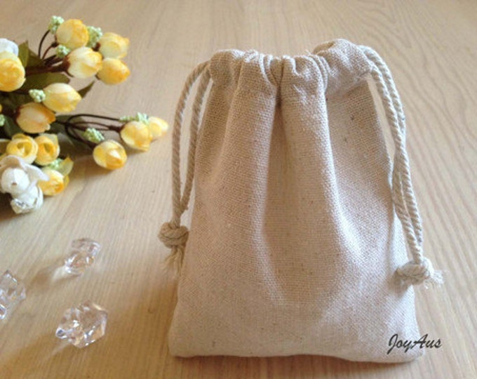 Featured listing image: 12x Natural Linen Pouch Favour Bags with Drawstring - Wedding Party Favour Bag - Baby Shower Chrismas Gift Bag