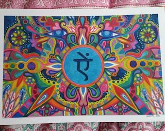 Aim Psychedelic Sanskrit Watercolor Visionary Art Print
