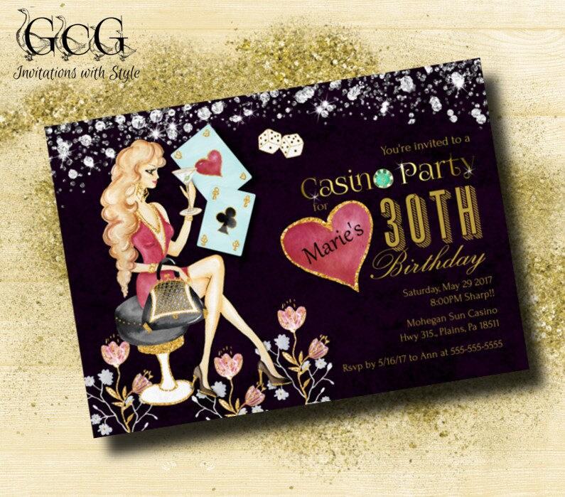 Casino night party invitations, Printable Bachelorette Invitation ...