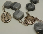 Decade chaplet made with Gray marble beads - with infant child or cross option (CH2A/CH2B)