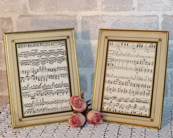 7 x 9  gold metal picture frame set of 2,  painted glass mat, straight easel backs and glass, slender style frame