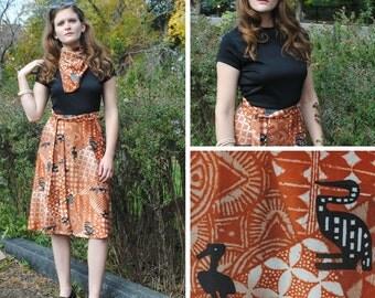 Print Dress - Black Dress, Brown Dress, Two Tone Dress, Vintage Dresses