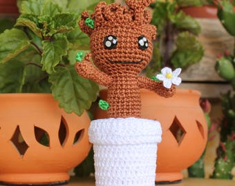 Baby Groot Plush, Groot Amigurumi, Crochet Groot, Guardians Galaxy, Desk Decor, Photo Holder, Nerd Gift, Nerd Decor, Nerd Plush, Groot Toy