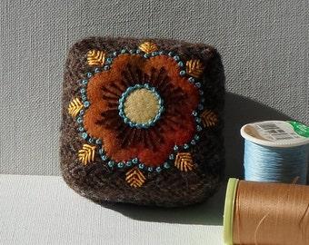 Handmade Pincushion Felted Wool Brown Tweed with Dark Orange Flower Mini Pin Cushion