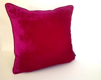 Magenta Fuchsia Pink Throw Velvet Pillow Cover, Fuchsia  Cushion Cover, Free Shipping