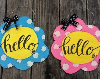 Hello Flower Door Hanger Sign