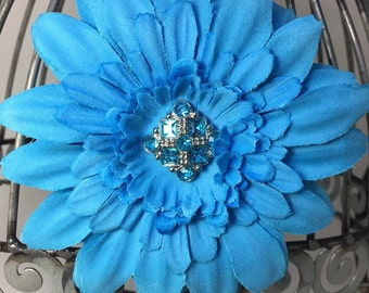 Turquoise flower hair clip with acrylic rhinestone center on a smooth alligator clip, hair flower, flower hair clip hair accessory