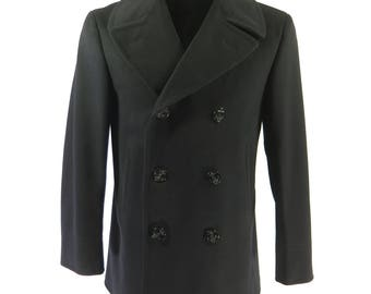 Vintage 60s 8 Button Pea Coat Mens 38 Long Peacoat Navy Vietnam Era Stenciled [H70L_4-14]