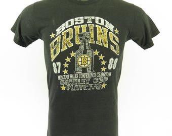 Vintage 80s Boston Bruins T-Shirt M NHL Hockey Stanley Cup Very Thin [H65V_0-6]