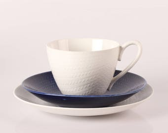 Herta Bengtsson Blue Fire ( Blå Eld) Huge Cup with Plate by Rorstrand  in Sweden - mid century