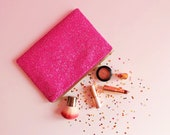 Hot Pink Glitter Clutch Bag Bright Pink Glitter Zipped Pouch Glitter Party Bag Hot Pink Glittch Evening Bag