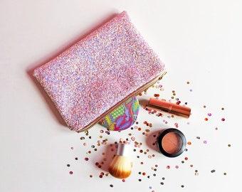 Pink Iridescent Glitter Makeup Bag, Mini Sparkle Clutch Bag, Pastel Glitter Cosmetic Bag, Iridescent Makeup Bag, Iridescent Gifts,