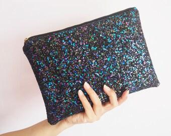 Black Rainbow Glitter Clutch Bag, Sparkly Black Glitter Party Bag, Sparkly Black Evening Bag, Black Glitter Wedding Bag, Black Clutch Bag,