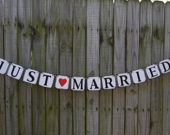 JUST MARRIED Wedding Banner - Engagement Party Decoration - Photo Prop