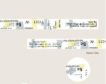 NEW PRE ORDER Yohaku Original Japanese Washi Tape - Grey Blue Yellow Collage yk-08