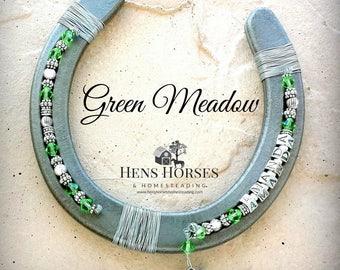 Horseshoe | Horse Décor | Horseshoe Décor | Personalized Horseshoe | Green Meadow Swarovski Crystal Horseshoe | Lucky Horseshoe | One Name