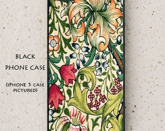 iPhone Cover(all models) - Mobile - William Morris Illustration - Golden Lily - Galaxy S3 S4 S5 mini S6 S7,LG,HTC,Sony & more