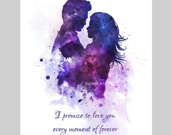 Twilight inspired Quote ART PRINT illustration, Edward and Bella, Movie, Wall Art, Home Decor