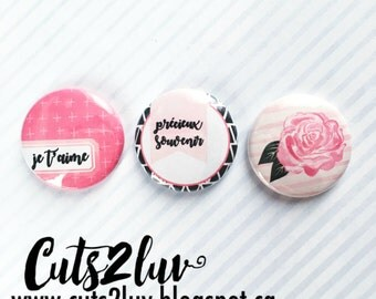 "3 buttons 1 ""pink"