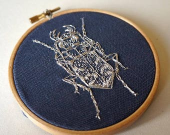 Silver Beetle Metallic Embroidery Kit