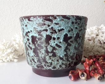 Vintage pottery planter mid century lava flower pot retro bubble foam finish plant holder