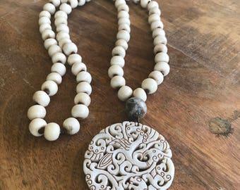 African Bone Bead Necklace