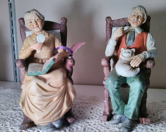Rocking Chair Figurines, grandpa, grandma, grandmother grandfather sitting in rocking chairs, anniversary gifts,  ceramic figurines,