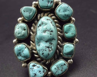 Vintage NAVAJO Sterling Silver & TURQUOISE Cluster RING, size 7