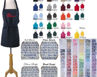 You Choose Lettering & Font Apron Adult or Youth Size  Monogram Custom Embroidered Art Smock