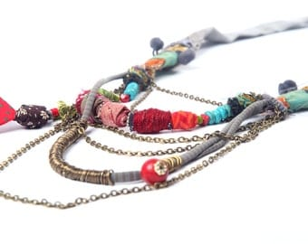 Colorful Multi strand Necklace, Eco Friendly Necklace, Textile Necklace, Fabric Necklace, African Style, Recycle Fabric Necklace, OOAK