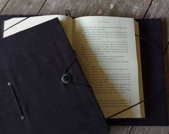 "Extra-large book holder, XXL, hands-free book cover, black microsuede, holds books up to 1-3/4"" thick, 9-1/2"" tall & 6-3/4"" wide"