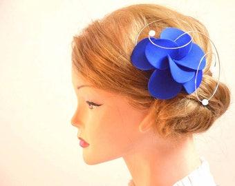 Royal blue fascinator Flower hair pin Royal blue fascinator Wedding hair flower Wedding hair accessories