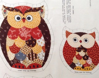 Vintage Three Wise Owls Fabric Panel, Vintage Fabric Panel, Owl Fabric Panel, Cut and Sew, Owl Fabric, Easy Owl Pattern, Sewing Supply, Owl