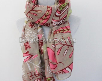 Khaki Flower Scarf, Floral Pattern Scarf, Pink Scarf, Christmas Gifts, For Her, For Girls, For Mom, Womens Scarves, Fashion Scarves