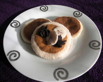 Pancakes with Chocolate and Banana - Felt Food Toy