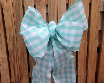 Turquoise aqua gingham Bow plaid ribbon Chair Pew summer wedding gift bows garland decoration