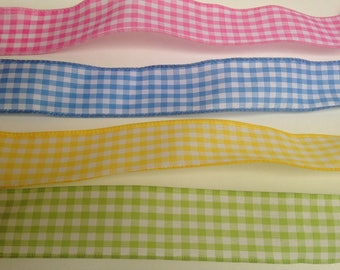 Gingham wired ribbon for wreaths, decorations, garlands, buffet tables and gift packages, wedding ribbon garland