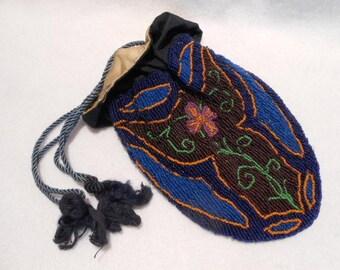 Arts and Crafts Art Nouveau Hand Beaded Bag Purse, c. 1900