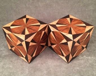 Matching Corner Star Wood Marquetry Keepsake Boxes