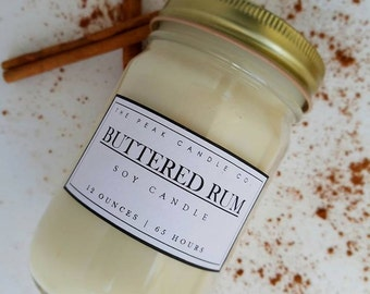 Buttered Rum Mason Jar Candle | 12 Oz. Soy Candle