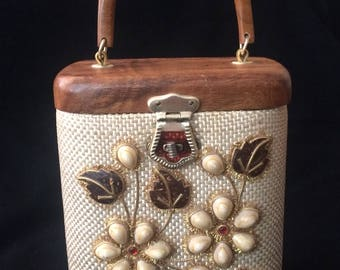 1950s early 60s wooden top embellished bag Enid Collins in style Fancy