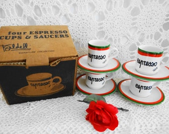 Vintage  Rare Collectible Set of Italian Chef Baldelli's Signature Collection  4 Espresso Cups and Saucers Still in Original Box