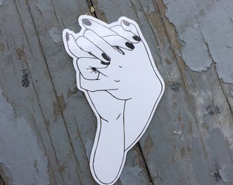 Tenderness Vinyl Sticker - holding hands sticker - femme 4 femme - Lovestruck Prints