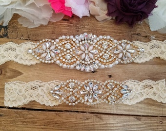Sale -Wedding Garter and Toss Garter-Crystal Rhinestone with Gold Details - CHAMPAGNE Garter Set - Style G20908G